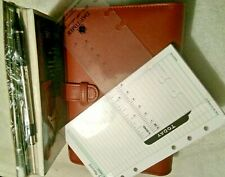 Genuine Real Leather organiser notebook & UNDATED Filofax personal size sheets