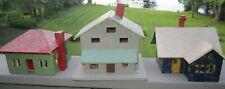 3 Vintage Wood Christmas Village House Set Tree Light Holder Handmade Decoratio