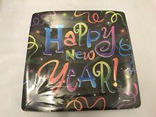 Año Nuevo Feliz Año Fiesta Negro & Multicolor Pies Cuadrados Platos Vasos &