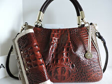 Brahmin Ruby Satchel Pecan Azuma Tri-Color Leather Bag + Checkbook Wallet NWT