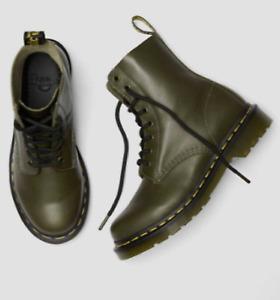 Dr Martens DMS Olive Wanama Leather 8-Eye Combat Boots US10 EU 42 UK 8 NWB