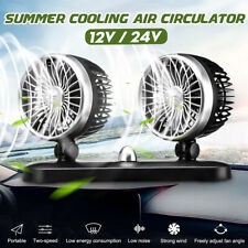 Portable 12V/24V Dual Head Car Air Oscillating Fan Truck Vehicle Fan Dash  E