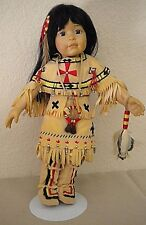 """Native American Porcelain Doll...13.5"""" Tall w/ Stand"""