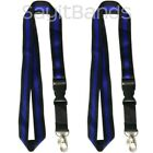 Two 2 LANYARDS with Attached Key Chains Thin Blue Line Police Officer Support