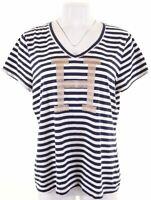 TOMMY HILFIGER Womens Graphic T-Shirt Top Size 18 XL White Striped Cotton  EK31