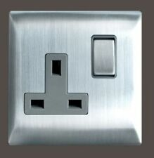 Brushed Stainless Steel Plug Socket Home Electrical Fittings
