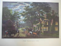 Vintage Currier & Ives America Color Print, The Wayside Inn