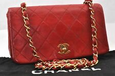 Authentic CHANEL Lamb Skin Matelasse Chain Shoulder Bag Red CC 94768