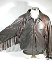 Men's Brown Leather Fringe Jacket Large