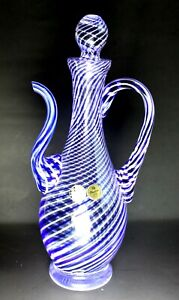 Vintage Turkish Pasabahce Lead Crystal Blue Twist TEA Pot  hand made
