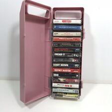 Vintage Pink Cassette Case Holder 15 Tapes 80s Sting Toto Houston Abdul Buffett