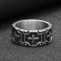 Cross Knights Templars Ring Men Stainless Steel Biker Gothic Rock Punk Jewelry