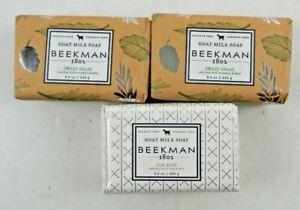 Lot of 3 Beekman 1802 Goat Milk Soap 9 oz Bars Sweet Grass Oak Moss  Herbal 2013