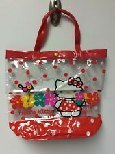 Vintage Sanrio Hello Kitty Clear Plastic Tote Bag, Flowers, Polka Dots, Red,RARE