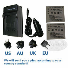 2x Battery +charger for PENTAX D-Li8 A10 Sanyo/Fuji NP-40 NP40N Kodak KLIC-7005