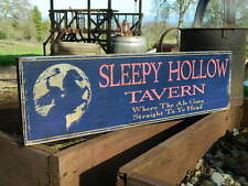 "Distressed Primitive Country Wood Sign - Sleepy Hollow Tavern 5.5"" x 19"