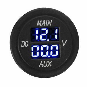12V/24V LED Dual Voltmeter Battery Monitor Voltage Gauge Car Boat Blue Light UK