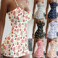 Womens Tank Ladies Floral Holiday Beach Strappy Wrap Sundress Casual Mini Dress
