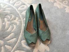 Ralph Lauren Shantung Silk Sea Green Jute Braided Wedge Heels Shoes Sandals 6
