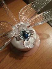 London Blue Topaz, Paraiba Apatite, White Topaz Ring, Silver Size (7)