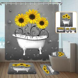 Sunflower Shower Curtain Non-Slip With Free Hooks Waterproof Fabric Bathroom Set