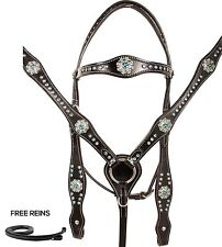 SILVER SHOW TRAIL HEADSTALL BRIDLE BREAST COLLAR TACK WESTERN LEATHER HORSE