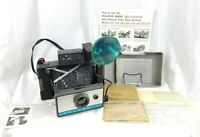 Vtg Polaroid Automatic 210 Land Camera w/ Flash Gun, Manual, Flash & MORE EXTRAS