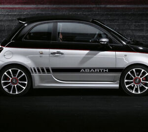 X2 Abarth Side Stripes Skirt Sticker Decals  Body Stickers Graphics For FIAT 500