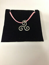 Celtic itriskele refCTSPP Pewter  PENDENT ON A PINK CORD Necklace Handmade Celt