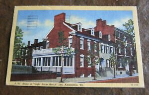 Vintage Postcard Light Horse Harry lee Alexandria Va House