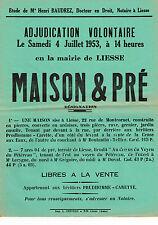 AISNE (02) / LIESSE / VENTE MAISON ET PRE EN 1953