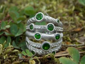 JUDITH RIPKA Sterling Silver Stacked Ring Cable Band Round Peridot Stones Sz. 6
