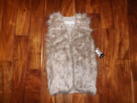 NWT Womens SEBBY Natural Taupe Faux Fur Vest Jacket Size L Large