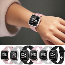 Breathable L/S Silicone Wrist Band Bracelet Metal Case Cover For Fitbit Versa/SE