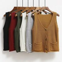 Ladies Knitted Waistcoat Vest Cardigan Sleeveless Jumper Pullover Button Pocket