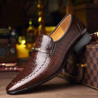 Details about  /Vintage Crocodile Pattern Gradient Mens Dress Leather Oxford Business Work Shoes