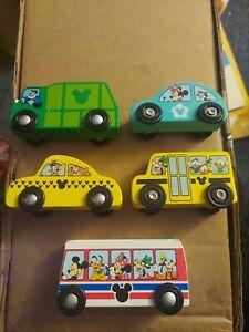 Melissa and Doug Disney wooden 5 piece car, bus, truck (Mickey & friends) lot