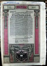 Austria. Government 100 Kronen bond dated 1917 Text in 8 languages of Empire