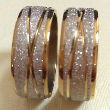 Wholesale 30pcs Gold Line Frosted Men Women Stainless Steel Rings Men's Jewelry