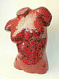 A Large, Red-Glass, Micro-Mosaic, Female, Torso Bust Sculpture
