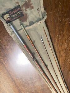 Vintage Heddon Bamboo DOWAGIAC fly Rod Approx 8+ ft w/ORIG sock & A tube