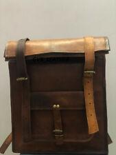 Men's Creative Genuine Leather Vintage Roll Back Pack Rucksack Laptop Travel Bag
