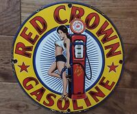 """Red Crown Gasoline Pin Up Girl Heavy Porcelain Sign 12"""""""