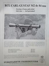 11/1966 PUB FFV SWEDEN RCL CARL GUSTAF M2 84 MM ANTICHAR ORIGINAL FRENCH AD