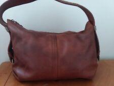 ELLIOTT LUCCA Brown Pebble Grain Leather Satchel Hobo Bag