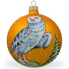 White Owl by Tree Glass Ball Christmas Ornament 4 Inches