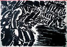 Frans Masereel Einmarschierende Soldaten L'agression 1940/41, 2.Weltkrieg Tusche
