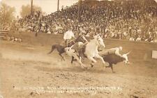 Rppc Guy Schultz Bulldogging Rodeo Wichita Falls Texas Real Photo Postcard 1920