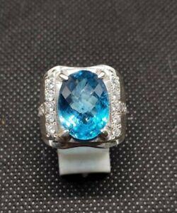 Natural Blue Topaz Gemstone Real Diamond 18K White Gold Men's Ring SR731