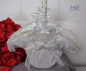 WEDDING CEREMONY SATIN FLOWER GIRL BASKET W/ FLOWER DESIGNS & PEARLS RHINESTONES